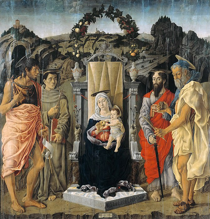 Marco Zoppo (1433-1478) - Enthroned Madonna with Child and St. John the Baptist, Francis of Assisi, Paul and Jerome. Part 3