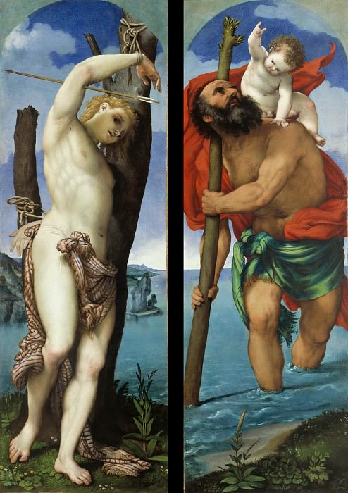 Lorenzo Lotto (c.1480-1557) - The St. Sebastian and St.. Christopher. Part 3