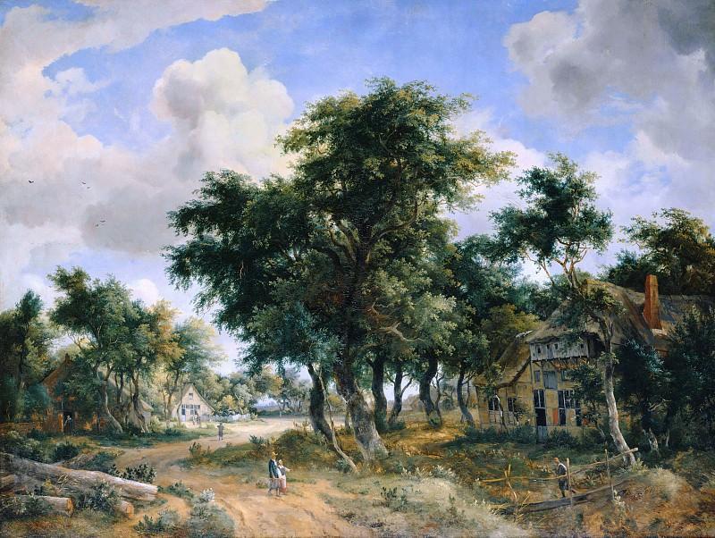 Meindert Hobbema (1638-1709) - Village road. Part 3