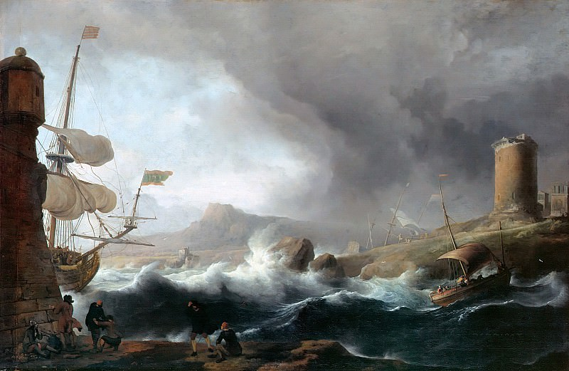 Ludolf Backhuysen (1630-1708) - Stormy seas at mountainous coastal. Part 3