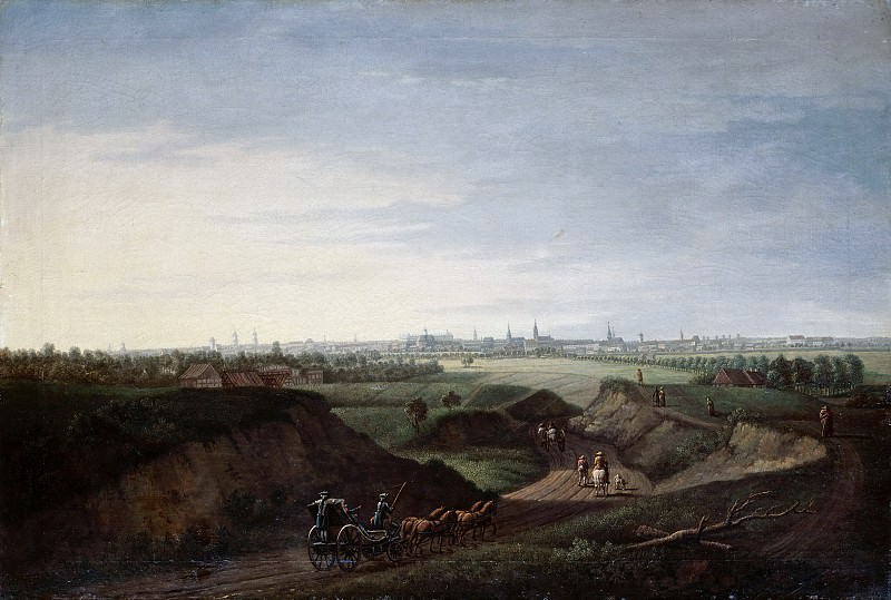 Johann Georg Rosenberg (1739-1808) - View of Berlin from the rolling hills at Kottbusser Tor. Part 3