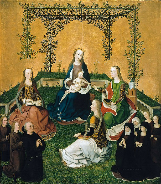Master Life of the Virgin (circle) - Mary with child in the rose arbor with Saints Catherine, Barbara, Magdalen and founder family. Part 3