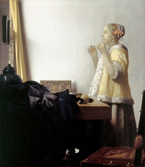 Jan Vermeer (1632-1675) - Woman with a Pearl Necklace. Part 3