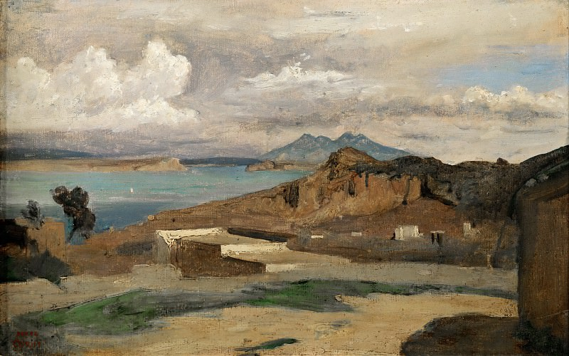 Corot, Jean-Baptiste Camille -- Ischia, vue prise des pentes du Mont Epomeo-Ischia, seen from Mount Epomeo, 1828. Paper on canvas, 26 x 40 cm R.F.2231. Part 2 Louvre