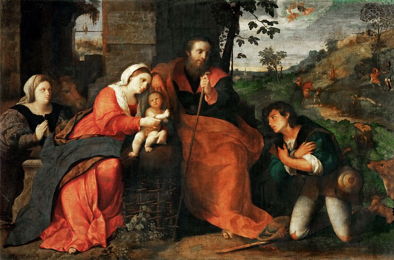 Jacopo Palma, il vecchio -- Adoration of the Shepherds with a Donor. Part 2 Louvre
