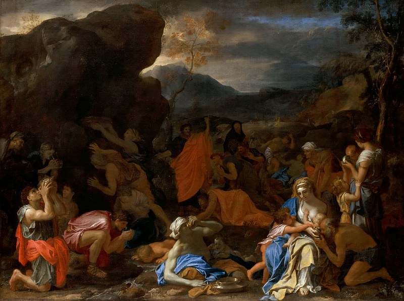 Le Brun -- Moses Drawing Water from the Rock. Part 2 Louvre