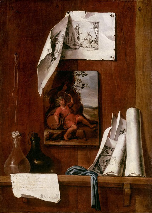 Bernardo Llorente Germán -- Still Life Trompe l'oeil, Wine-Allegory of Taste. Part 2 Louvre