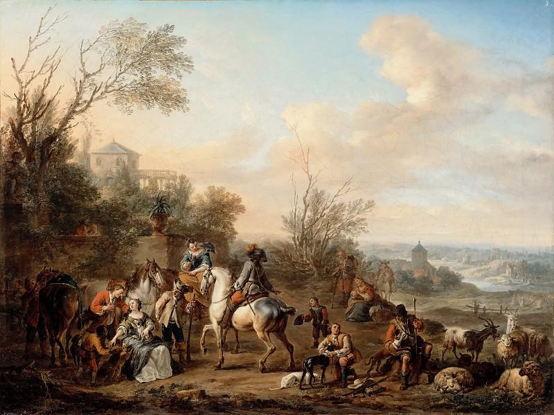 Carel van Falens -- Hunters' Rest (Halte de casseurs). Part 2 Louvre
