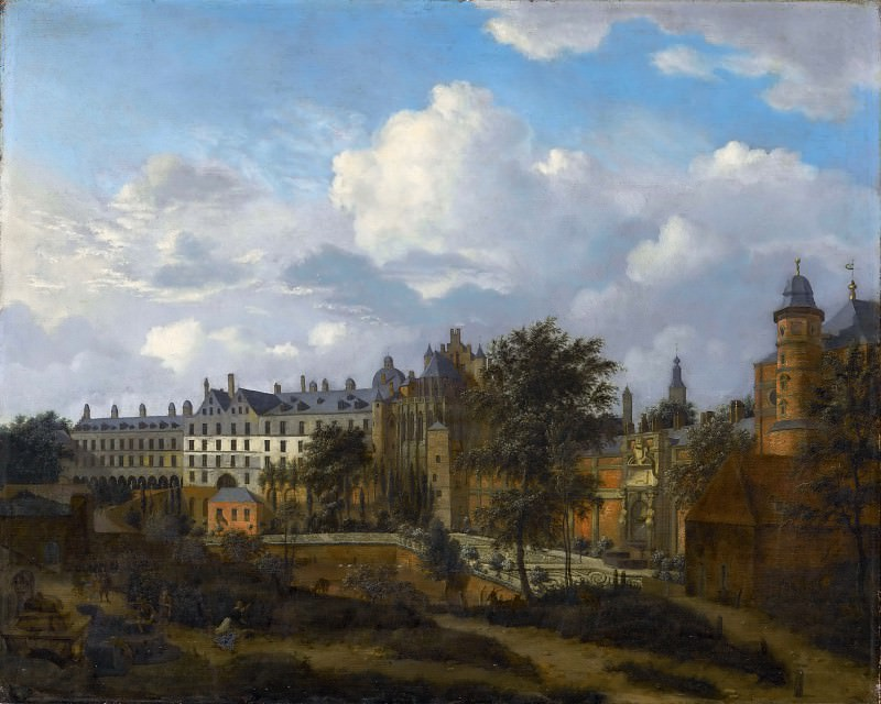 Jan van der Heyden, figures by Adriaen van de Velde -- Old Palace in Brussels (Coudenberg Palace), seen from the northwest (Vieux Palais de Bruxelles et la ménagerie; Ancien Château des ducs de Bourgogne). Part 2 Louvre