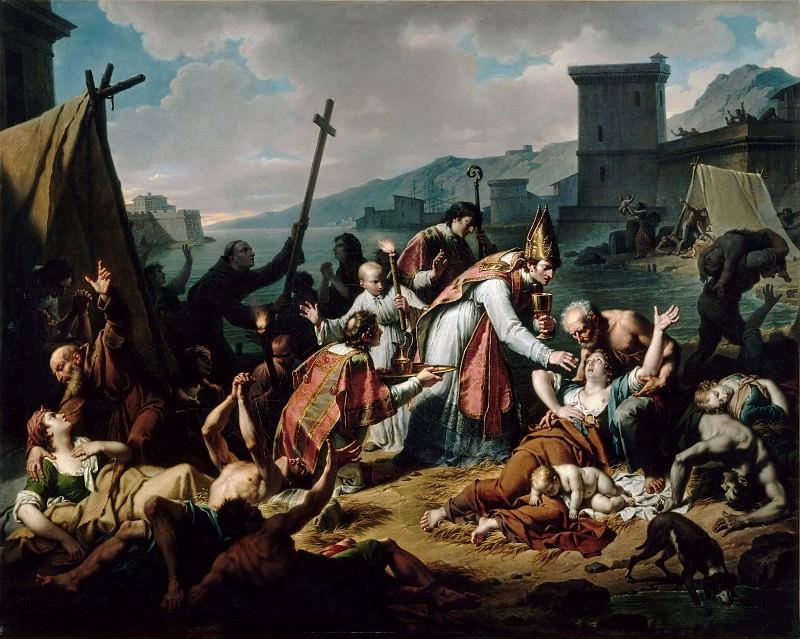 Nicolas André Monsiaux -- The devotion of Monseigneur de Belzunce during the plague in Marseille, 1720. Part 2 Louvre
