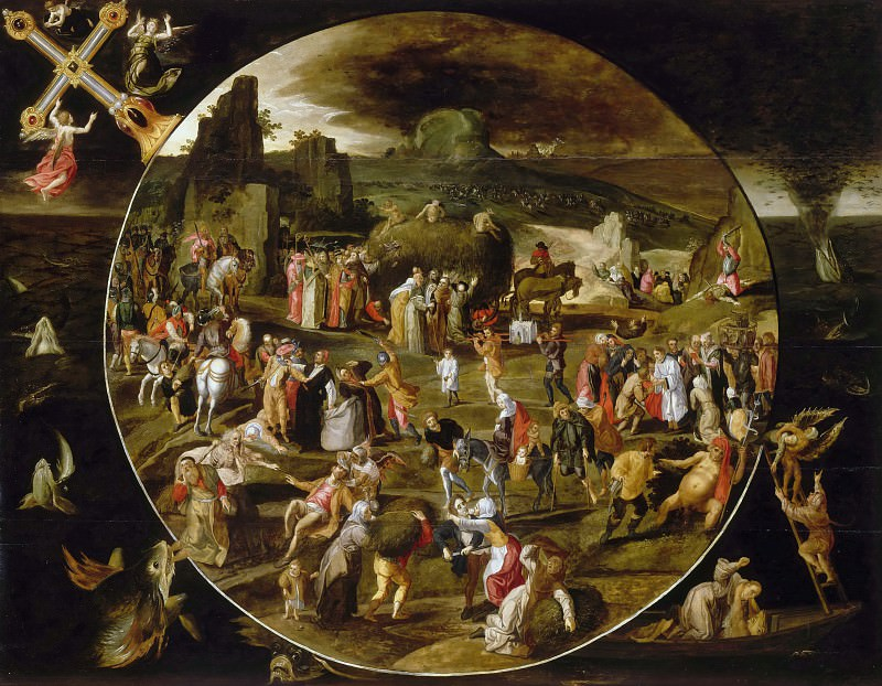 Gillis Mostaert -- The Haywagon, allegory (Vanity of the World). Part 2 Louvre
