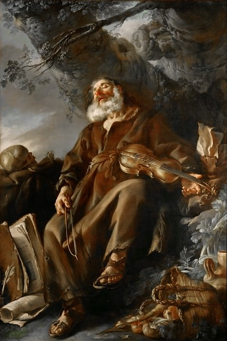 Joseph-Marie Vien -- The Sleeping Hermit. Part 2 Louvre