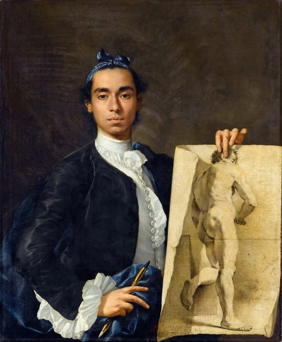 Luis Meléndez -- Portrait of the artist holding an academic drawing. Part 2 Louvre