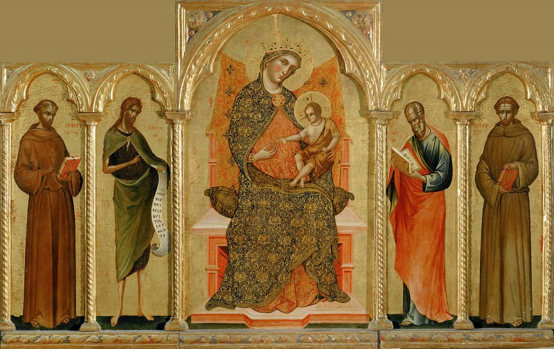 Paolo Veneziano -- Virgin and Child with Saint Francis of Assisi, Saint John the Baptist, Saint John the Evangelist and Saint Anthony of Padua. Part 2 Louvre