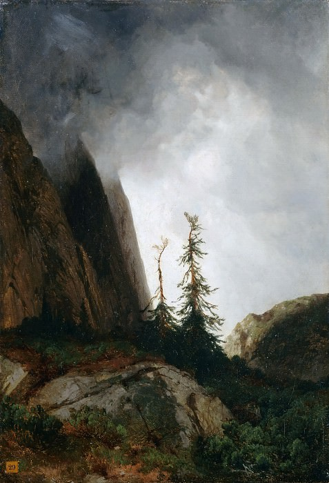 Alexandre Calame -- Grimselpass in the Canton of Berne, Switzerland (Thunderstorm in the Mountains; Route du Grimsel). Part 2 Louvre