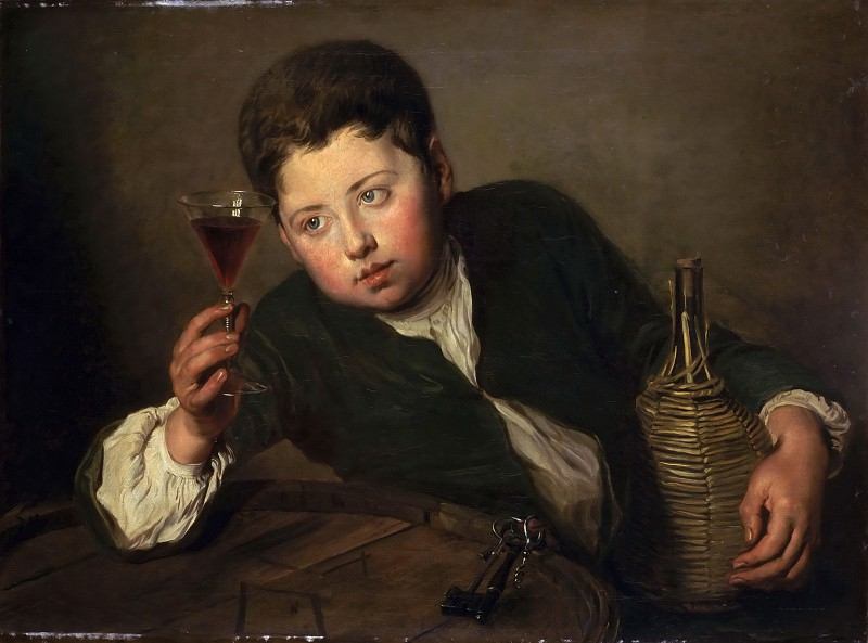 Philippe Mercier -- The young wine taster. Part 2 Louvre