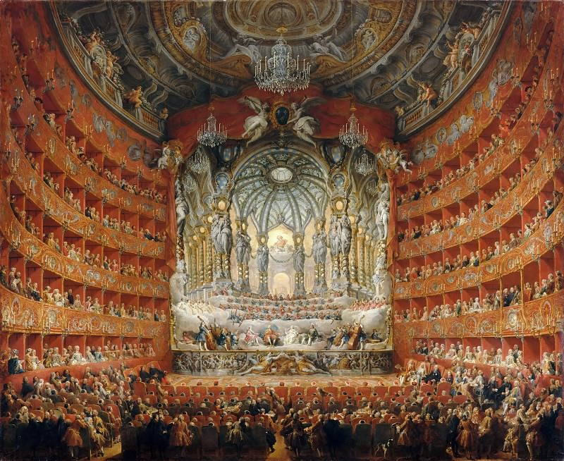 Giovanni Paolo Panini -- A musical celebration given the Cardinal Rochefoucauld at the Teatro Argentina in Rome, July 15, 1747, on the occasion of the wedding of the Dauphin Louis XV and Marie-Josephe of Saxony.. Part 2 Louvre