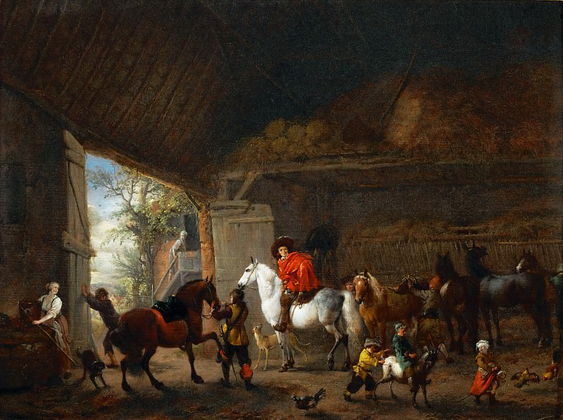 Philips Wouwerman -- Cavaliers leaving a stable. Part 2 Louvre