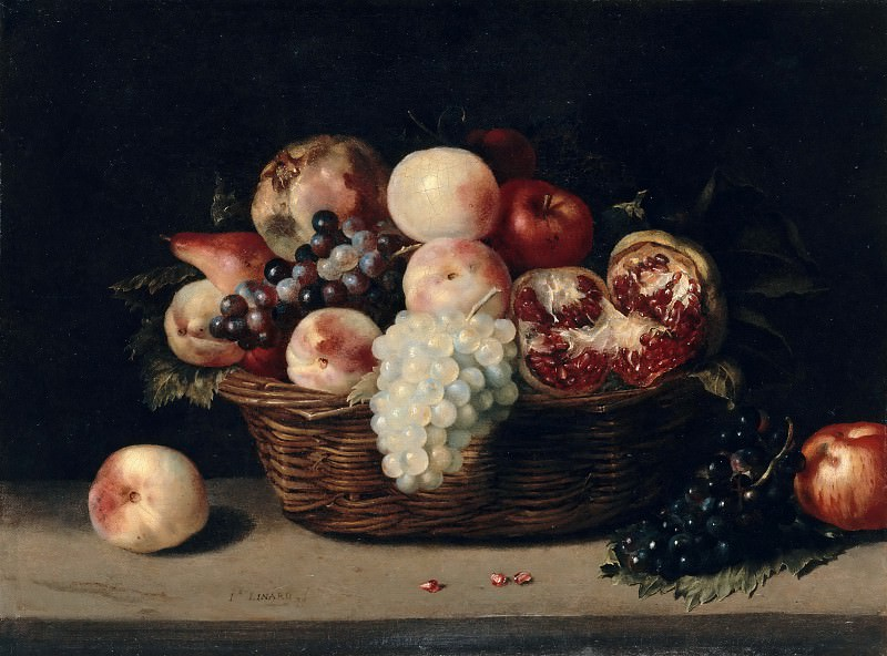 Jacques Linard -- Basket of pomegranates, peaches and grapes. Part 2 Louvre