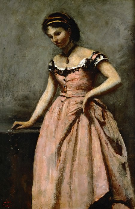 Corot, Jean-Baptiste Camille -- Girl in pink dress with roses and a pearl. Oil on canvas. Part 2 Louvre