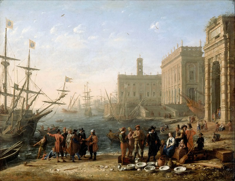 Claude Lorrain -- View of a harbor with the Capitol. Part 2 Louvre