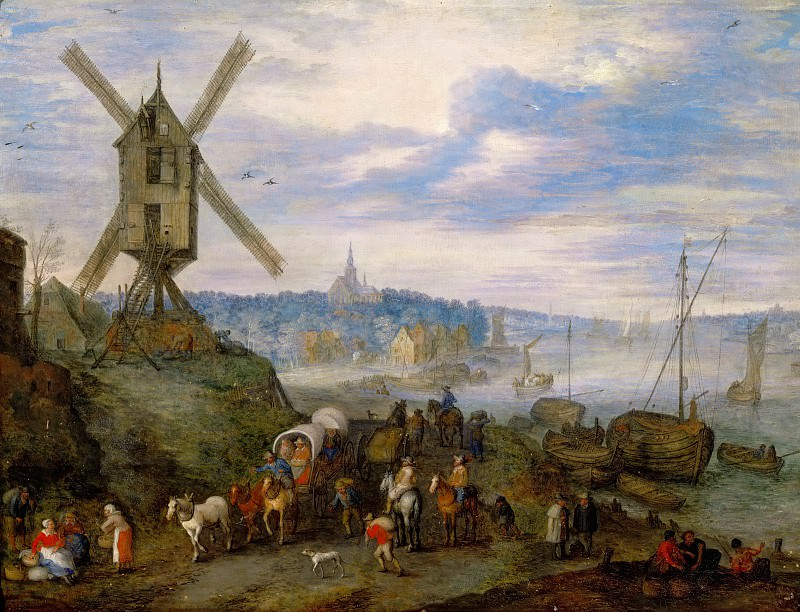 Jan Brueghel the elder -- Seaport with Windmill. Part 2 Louvre