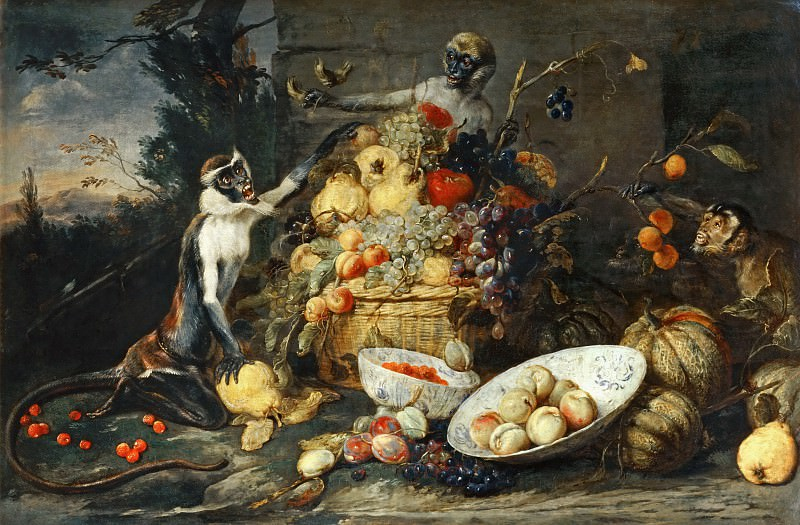 Frans Snyders -- Three Monkeys with Fruit. Part 2 Louvre