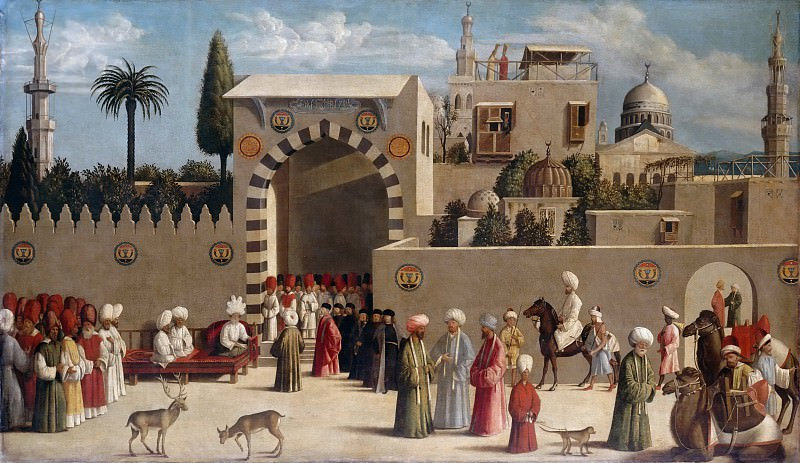 Sebastiano del Piombo -- Reception of a Venetian delegation in Damascus in 1511. Part 2 Louvre