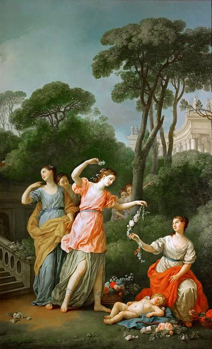 Joseph-Marie Vien -- Young Greek girls bestowing garlands on sleeping Amor. Part 2 Louvre