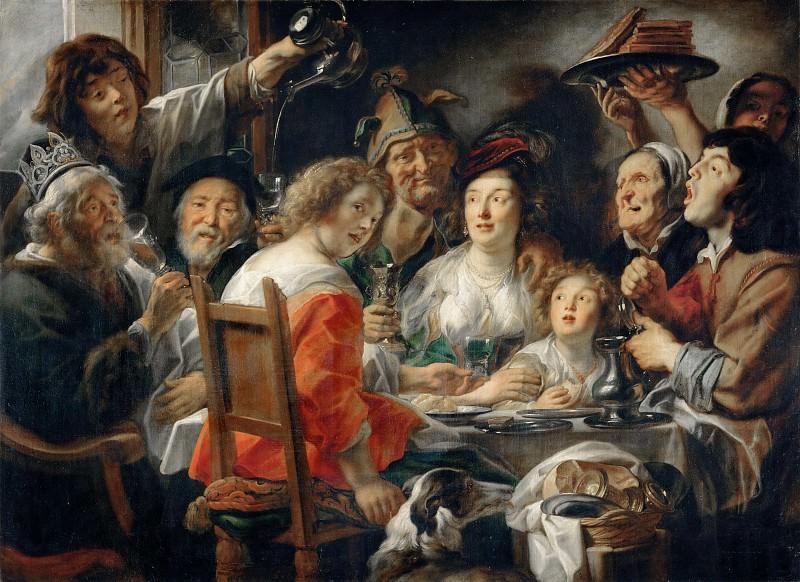 Jacob Jordaens the Elder (1593-1678) -- The Bean-King Drinks. Part 2 Louvre