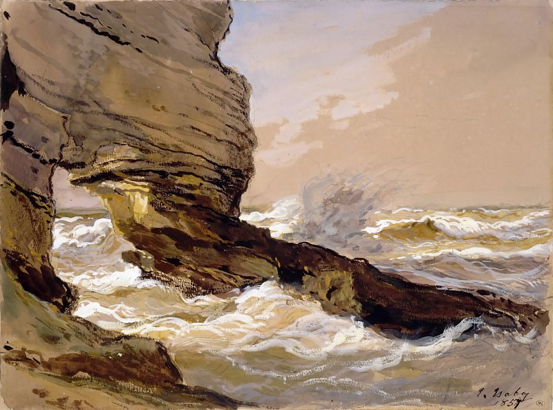 Eugène Isabey -- Rocks at Etretat (Rochers d'Etretat). Part 2 Louvre