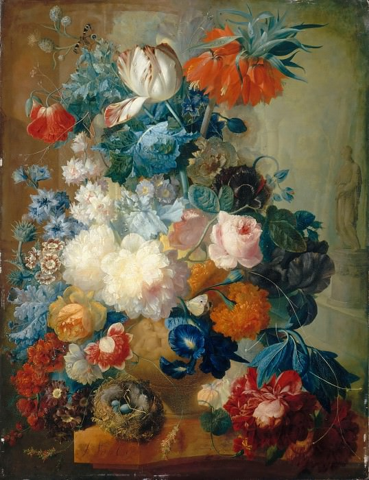 Jan van Os -- Flowers in a vase and a bird's nest. Part 2 Louvre