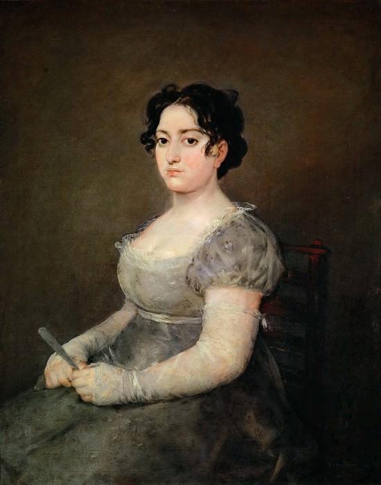 Goya y Lucientes, Francisco Jose de -- La femme a l'evantail-lady with a fan. Canvas, 103 x 84 cm R.F. 1137. Part 2 Louvre
