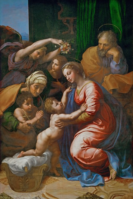 Raphael -- Holy Family with Saint Elizabeth, the Young Saint John and Angels (Holy Family of Francis I). Part 2 Louvre
