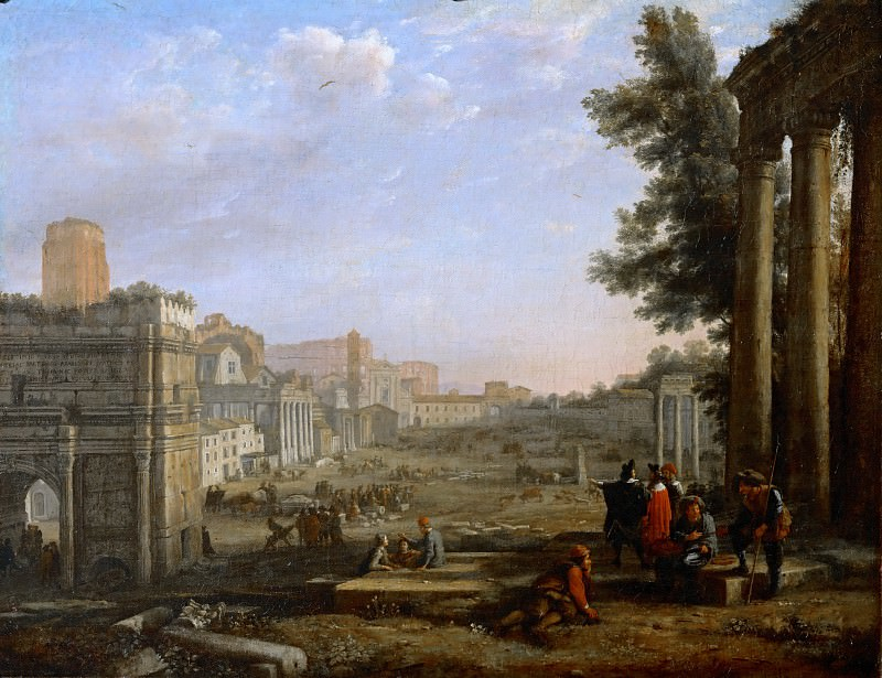 Claude Lorrain -- View of the Campo Vaccino, Rome. Part 2 Louvre