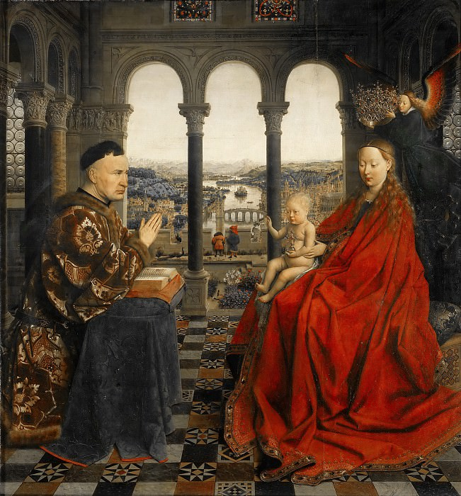 Jan van Eyck -- Madonna of Chancellor Rolin. Part 2 Louvre