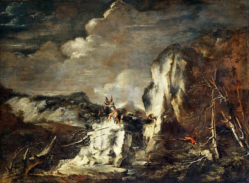 Salvator Rosa (1615-1673) -- Rocky Landscape with Hunter and Warriors. Part 2 Louvre