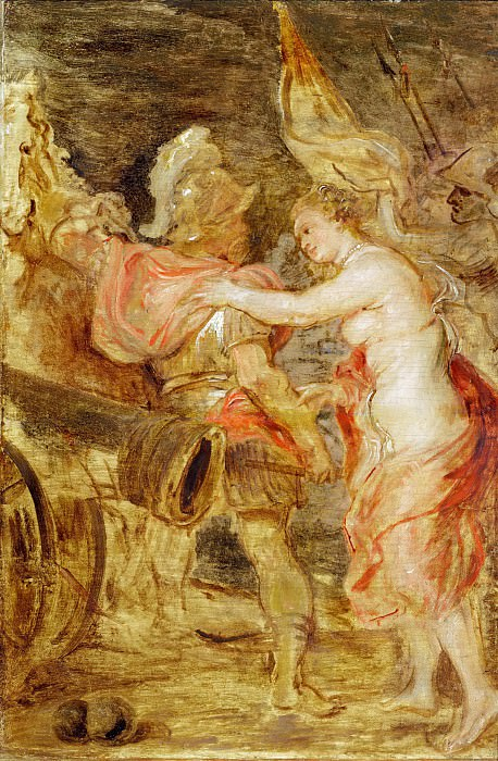 Rubens, Peter Paul -- Venus escortant Mars sur le chemin de la guerre-Venus accompanies Mars to war. Wood, 36 x 25 cm DL 1973-16. Part 2 Louvre