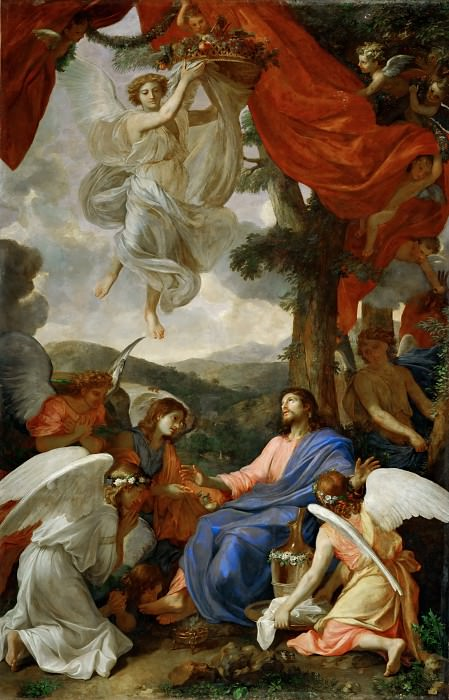 Charles Le Brun -- Christ in the Desert Served by Angels. Part 2 Louvre