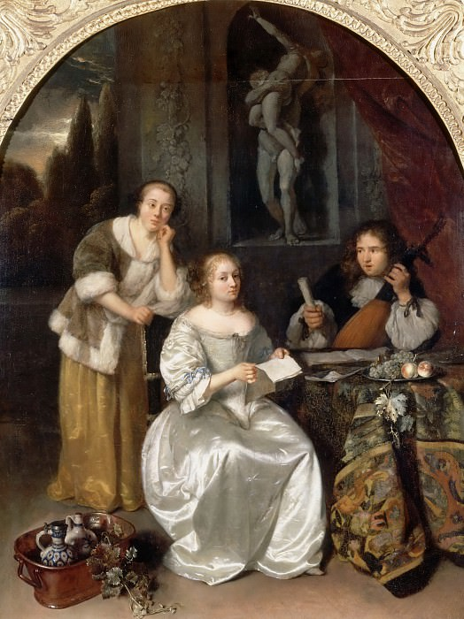 Caspar Netscher -- Pair of a chanteuse and a theorbe player, also called 'The Singing Lesson'. Part 2 Louvre