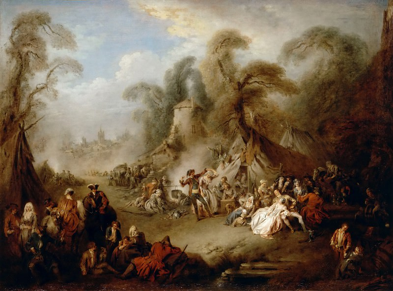 Jean-Baptiste Pater -- A fête champêtre, rejoicing of the soldiers. Part 2 Louvre