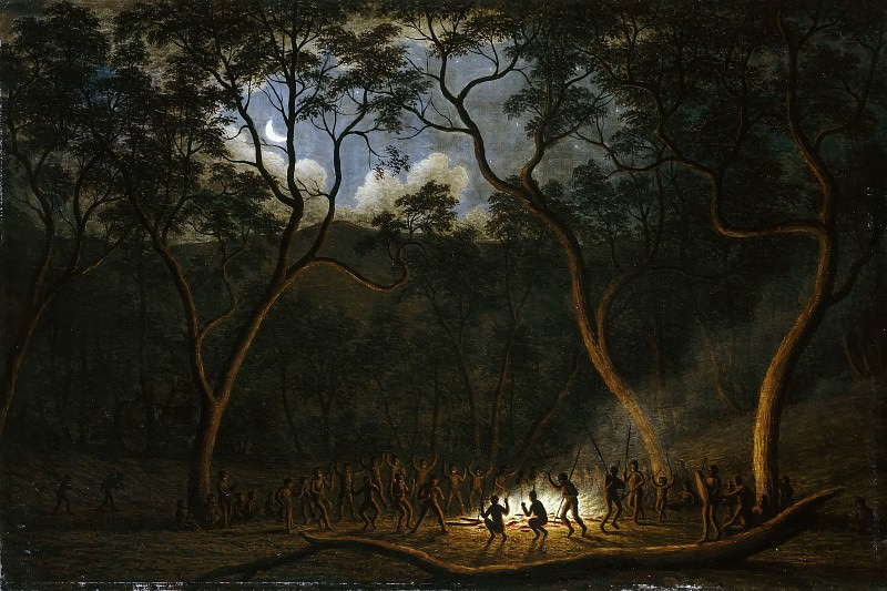 John Glover -- Aboriginal Corroboree in Van Diemen's Land (Moonlight Dance of the Aborigines in Van Diemen's Land, Tasmania; Natives at a Corrobory). Part 2 Louvre