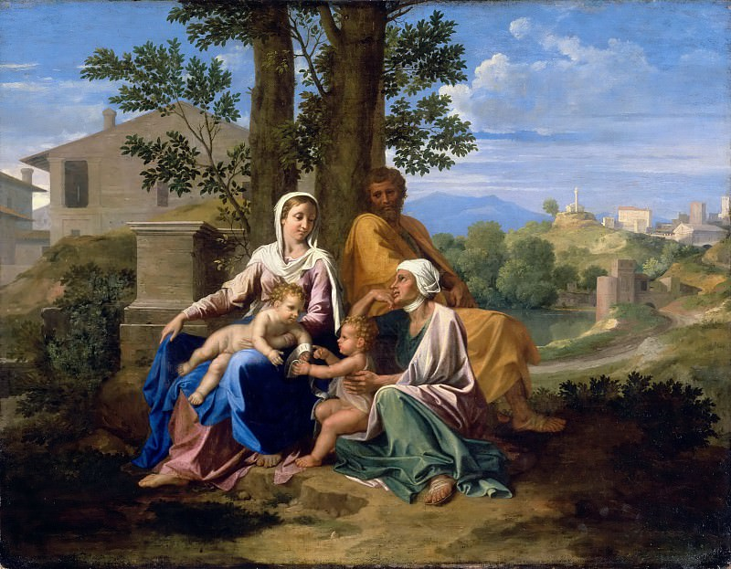 The Holy Family with Saint John and Saint Elizabeth in a landscape. Nicolas Poussin