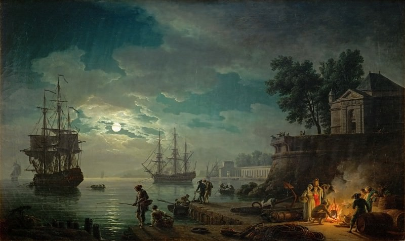 Claude-Joseph Vernet -- Night, a Port in Moonlight. Part 2 Louvre