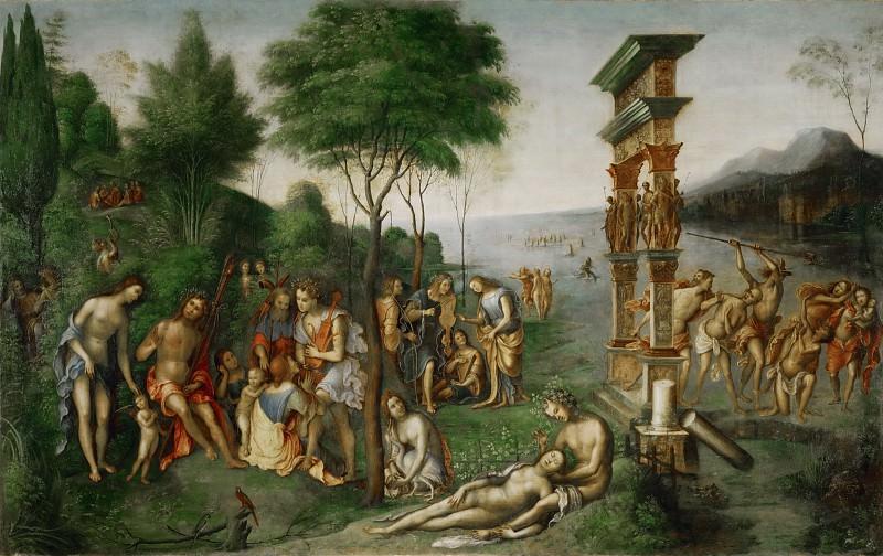 Lorenzo di Ottavio Costa -- Mercury Fights the Vices in Olympus. Part 2 Louvre