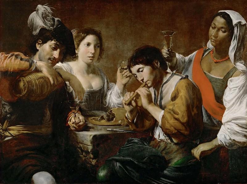Valentin de Boulogne -- Reunion in a Cabaret. Part 2 Louvre