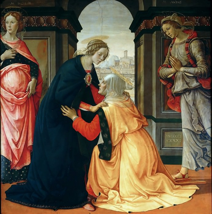 Domenico Ghirlandaio -- Visitation with Saints Mary Jacobi and Mary Salome. Part 2 Louvre