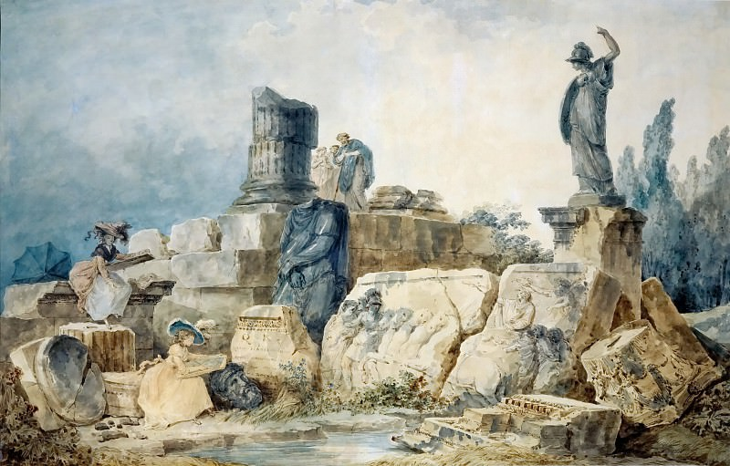 Robert, Hubert -- Two young women drawing the ruins of Rome, three figures in antique clothing observe them from above. Pen and watercolour, 70 x 98 cm.. Part 2 Louvre