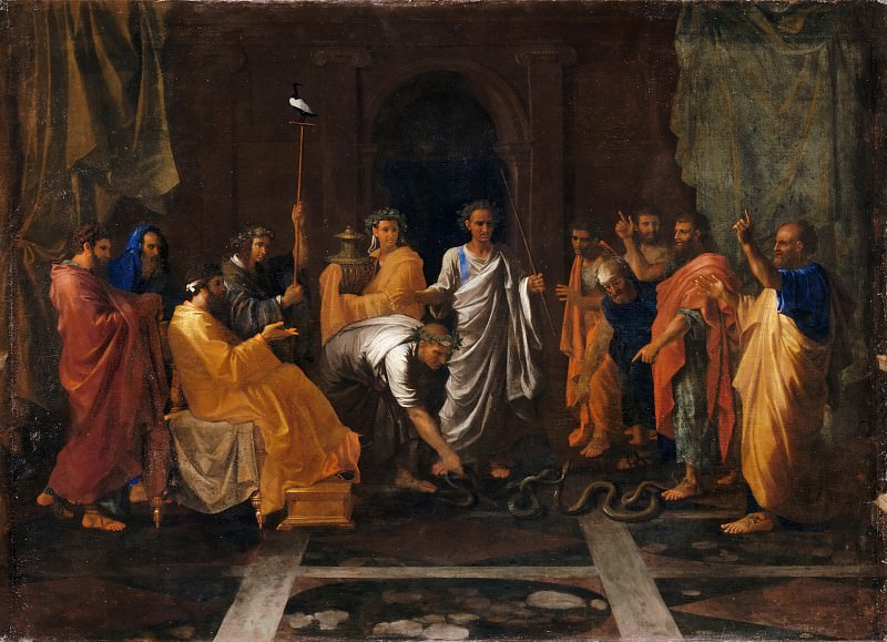 Nicolas Poussin -- Moses changing Aaron's rod into a serpent. Part 2 Louvre