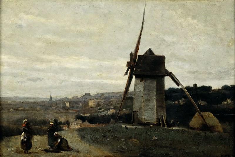 Corot, Jean-Baptiste Camille -- Un moulin a vent.Etretat-A windmill.Etretat. Wood, 38 x 58 cm R.F.1952-11. Part 2 Louvre